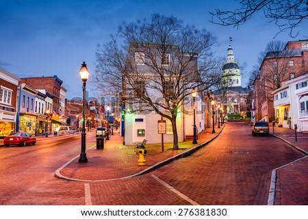 stock photo annapolis maryland usa downtown cityscape on main street 276381830 - Каталог — Фотообои «Улицы, переулки»
