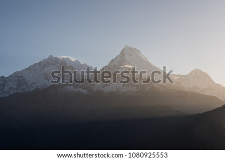 Annapurna  high mountain  ranges with Sunrise flare at Poon hill in Nepal for trekker go to summit #1080925553