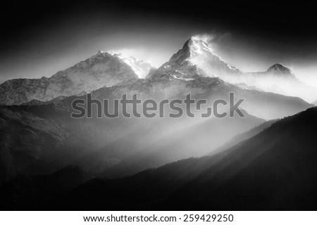 Annapurna mountains in sunrise light #259429250