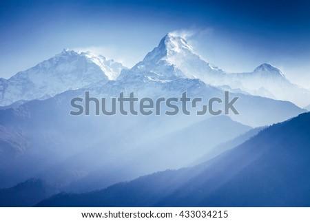 Annapurna mountains in sunrise light #433034215