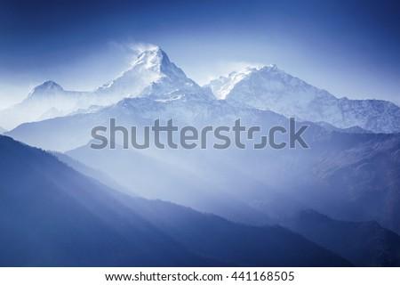 Annapurna mountains in sunrise light Himalaya, Nepal #441168505