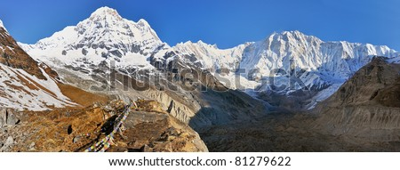 Annapurna mountains massif, view from ABC camp