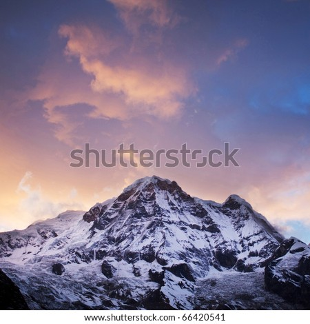 Annapurna South peak sunset - view  from Annapurna Base Camp in Central Nepal
