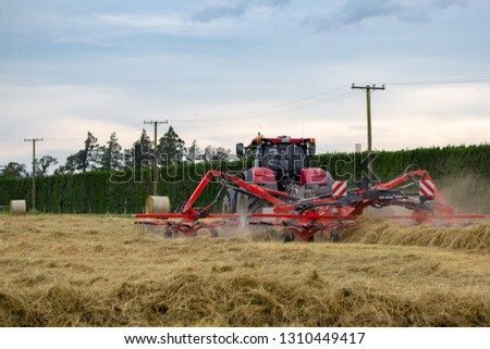 Annat, Canterbury, New Zealand - February 1 2019: A red tractor and tedder turn hay into rows ready for the baler #1310449417