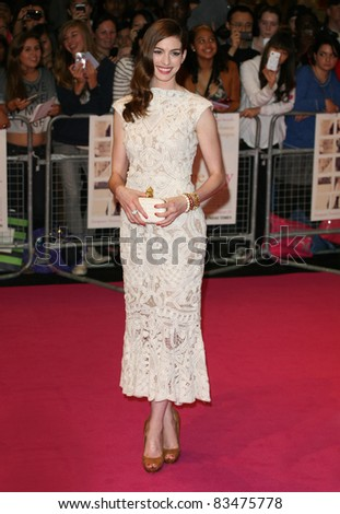 Anne Hathaway arriving for the European Premiere of 'One Day' at Westfield, west London. 23/08/2011  Picture by: Alexandra Glen / Featureflash - stock photo