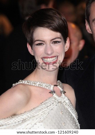 Anne Hathaway arriving for the premiere of 'Les Miserables' at Leicester Square, London. 05/12/2012 Picture by: Alexandra Glen