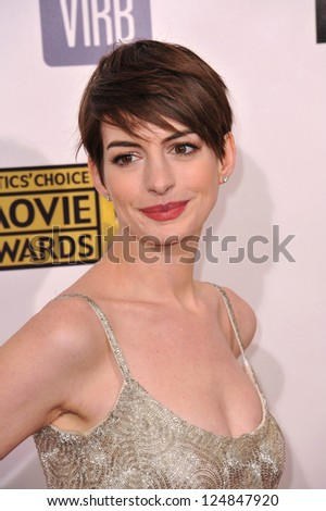 Anne Hathaway at the 18th Annual Critics' Choice Movie Awards at Barker Hanger, Santa Monica Airport. January 10, 2013  Santa Monica, CA Picture: Paul Smith