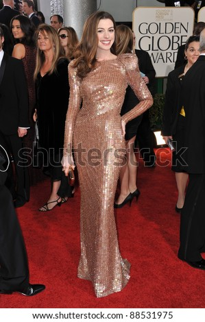 Anne Hathaway at the 68th Annual Golden Globe Awards at the Beverly Hilton Hotel. January 16, 2011  Beverly Hills, CA Picture: Paul Smith / Featureflash