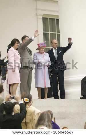 Anne Holton, Governor Timothy M. Kaine, Her Majesty Queen Elizabeth II and Prince Philip waving, Richmond Virginia, as part of the 400th anniversary of the Jamestown Settlement, May 3, 2007