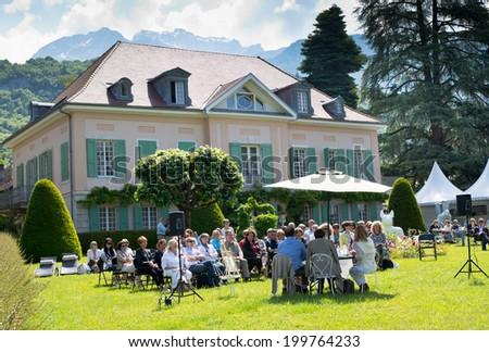 ANNECY, FRANCE - JUNE 01, 2014 : Literature lecture at meeting with French writers in Talloires - Annecy, France on June 01, 2014. French literature is an object of national pride for centuries.