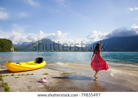 Annecy lake in French Alps, afternoon time.
