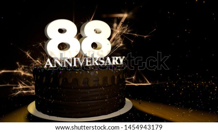 Anniversary 88 greeting card. Chocolate cake decorated with colored dragees with white numbers on a wooden table with fireworks in the black background and stars falling on the table. 3D Illustration