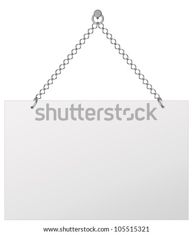 Announcement board, hangs on chains - isolated on white