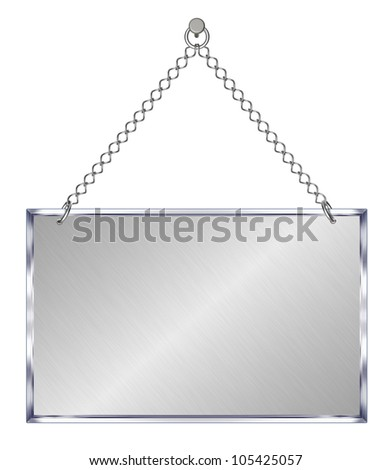 Announcement board, hangs on chains - isolated on white background
