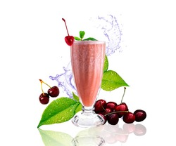 Announcement of refreshing drink, cherry smoothie decorated with mint leaves. Cafes, bars and restaurants.