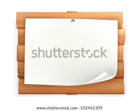 Announcement on wooden board, bitmap copy
