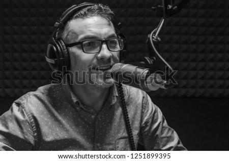 announcer in radio studio