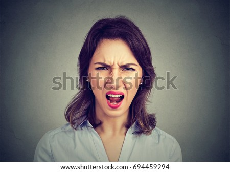 Annoyed angry woman screaming. Negative human emotions, face expressions.  #694459294