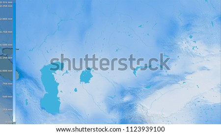 Annual precipitation within the Kazakhstan area in the stereographic projection with legend - raw composition of raster layers #1123939100