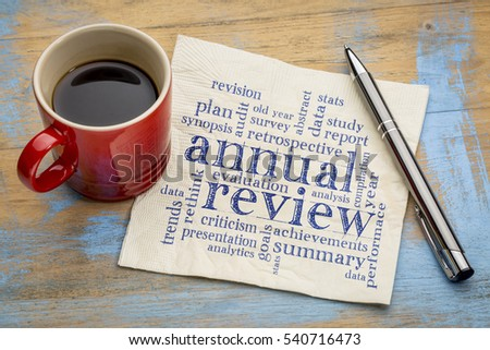 annual review word cloud - handwriting on a napkin with a cup of coffee #540716473