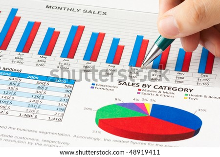 Annual sales report with a hand holds a ball pen