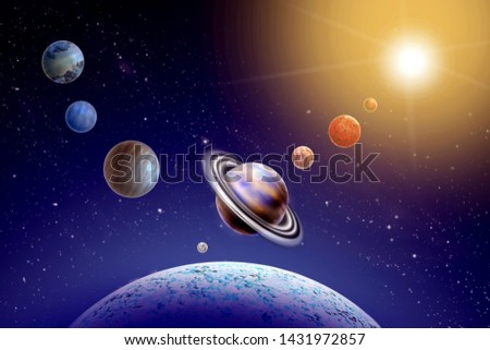 Annual small parade of the planets from 4 planets of the solar system on background star and sun