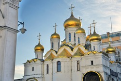 Annunciation cathedral. Architecture of Moscow Kremlin. Popular landmark.
