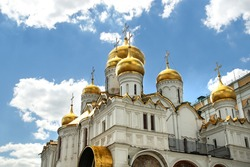 Annunciation Cathedral domes. The cathedral was a home church of Moscow Great Princes and Tsars intended for royal ceremonies and keeping the royal treasury.