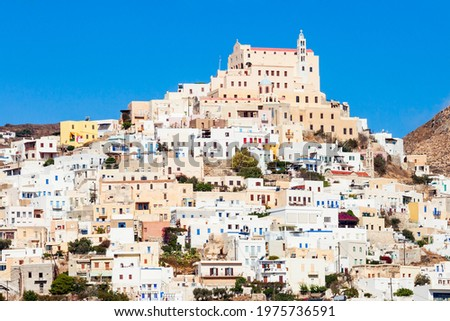 Ano Syros city on the Syros island. Syros or Siros is a Greek island in the Cyclades, in the Aegean Sea. Foto stock ©
