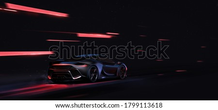 Anodised black sports car in motion (non-existent car design, full generic) - 3d illustration, 3d render