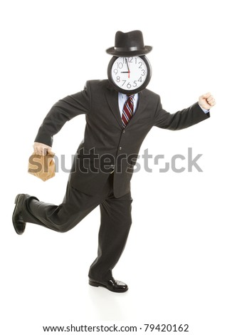 Anonymous businessman with a clock for a face, holding his lunch back and running.  Isolated on white.