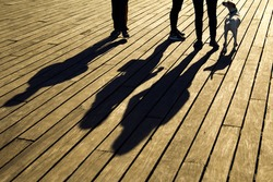 Anonymous family or a group of friends walking the dog during sunny evening, warm sun casting long shadows on wooden boards. They are talking and enjoying their time together.