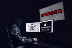 Anonymous hacking with a cyber attack and getting the password of the victim. Black background