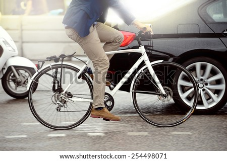 Anonymous person on bike stock photo