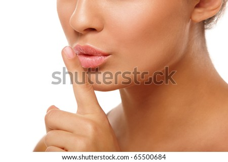 Anonymous portrait of young woman head and hands over isolated white background