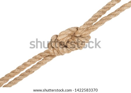 another side of figure eight bend joining two ropes isolated on white background