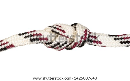 another side of figure-eight knot knot tied on synthetic rope cut out on white background