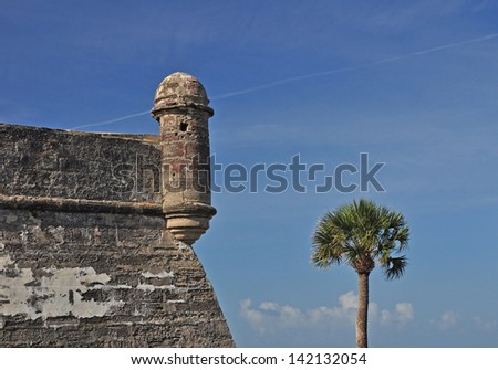 Another view of the sentry lookout tower at Castillo de San Marcos in St Augustine, Florida