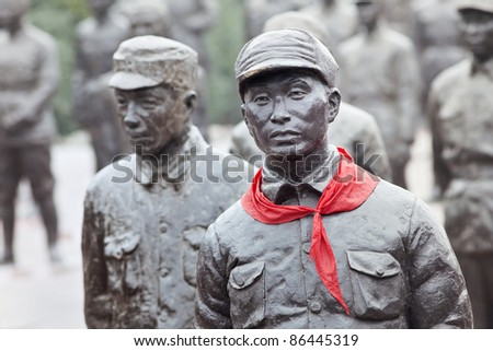 """ANREN, CHINA - JAN. 16. Statues of red heroes at Jianchen Museum Cluster which consists of 15 museums. Anren Old Town has been awarded the title of """"China museum town"""". Anren, Jan. 16, 2011."""