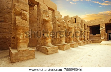 Anscient Temple of Karnak in Luxor - Ruined Thebes Egypt #755595046