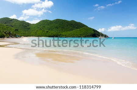 Anse Marcel beach and boats on french side of St Martin Sint Maarten Caribbean
