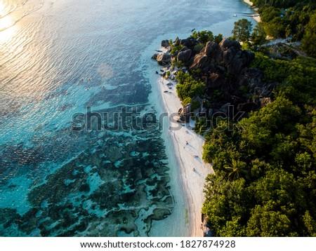Anse Source D'Argent Beach Seychelles Drone Stock photo ©
