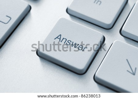 Answer button on the keyboard. Toned Image.