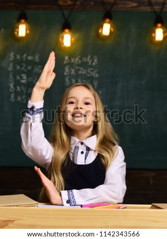 answer question. little girl answer question. she knows answer to question. answer and question concept