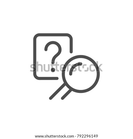 Answer search line icon isolated on white. Vector illustration