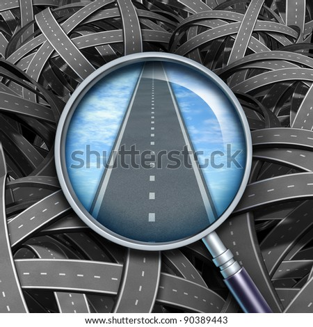 Answers and solutions with a clear path and direction to business questions by confused tangled roads with a transparent magnifying glass guiding the way forward with a straight road of success.