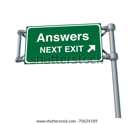 Answers Freeway Exit Sign highway street symbol green signage road symbol isolated