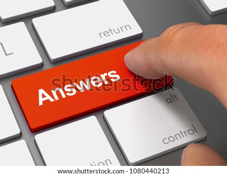 answers pushing keyboard with finger 3d illustration