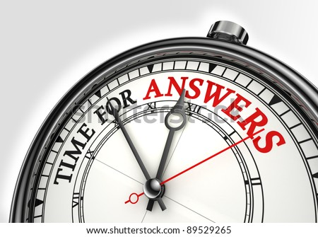 answers time concept clock closeup on white background with red and black words
