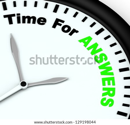 Answers Word On Clock Showing Solution Knowledge And Wiki - stock photo